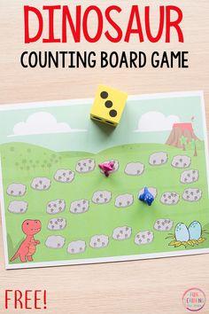 Dinosaur board game math activity for preschool and kindergarten. This counting and addition activity is perfect math centers! #dinosaurs #preschool #mathprintable #mathfreebies #kindergarten #prek