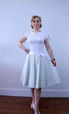 Hey, I found this really awesome Etsy listing at https://www.etsy.com/uk/listing/517691165/white-green-polka-dots-full-circle-skirt