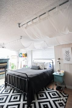 Dwell Beautiful uses plumbing pieces as part of February's Monthly DIY Challenge and comes up with a beautiful & dreamy bedroom canopy for an intimate room!