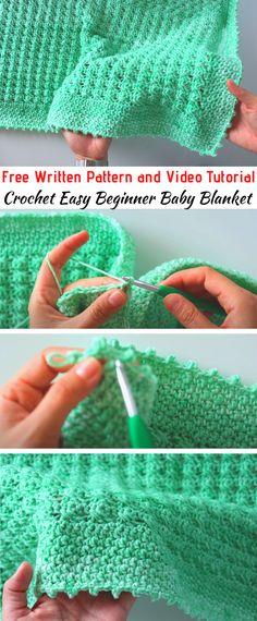 Crochet Baby Blanket Beginner, Crochet Baby Blanket Free Pattern, Beginner Crochet Projects, Baby Knitting, Start Knitting, Crochet Baby Afghans, Crochet For Baby, Kids Crochet, Manta Crochet
