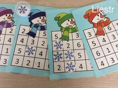 Dobbelspel: elke kleuter krijgt een kaart met daarop verschillende nummers. Ze rollen met de dobbelsteen en op het cijfer leggen ze een sneeuwvlokje. Wie het eerst 4 op een rij heeft, is gewonnen. *liestr*