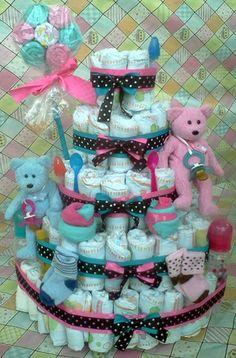 Diaper Cake Twins Boy Girl Pink Blue 5 Tier