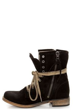 Black Suede Lace-Up Ankle Boots at LuLus.com! //LOVE LOVE LOVE the contrasting straps