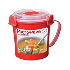 Microwave Soup Mug 656 Ml Clip Lid Bpa Free Cup Red Watertight Plastic Container #Sistema