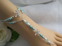 Blue Starfish Foot Jewelry Wedding Starfish Barefoot Sandal & Anklet. $37.00, via Etsy.