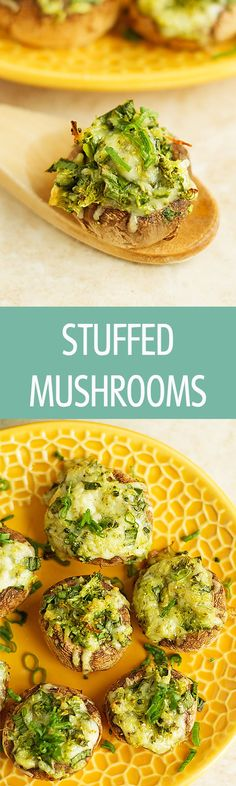 Stuffed mushrooms recipe with mozzarella cheese and grated broccoli are perfect for any party. An easy appetizer that everyone will love! by http://ilonaspassion.com I /ilonaspassion/