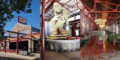 Mad Giant Craft Beer restaurant and brewery in Johannesburg.  A giant yeti - the mascot for the brand - stands 7 metres tall above the main bar, which is a 6m-diameter cast concrete bar shaped like a bottle cap.  Interior and Furniture design by Haldane Martin. Photography by Micky Hoyle.