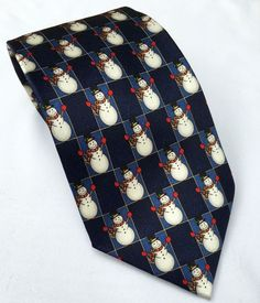 NWOT Men's Navy Musical Christmas Holiday Songs Snowman Tie PLAYS MUSIC! #HolidayTraditions #Tie