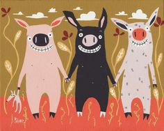 3 Little Pig Card  - Humorous and Whimsical Folk Art Animal Card by 3crows on Etsy https://www.etsy.com/listing/93865076/3-little-pig-card-humorous-and-whimsical