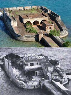 Presente y Pasado  Fortín San Gerónimo del Boquerón Puerta de Tierra, San Juan, Puerto Rico  (2013 imagen superior) (1912 imagen inferior)