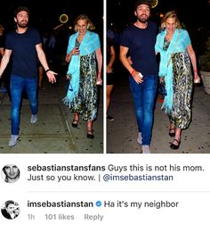 Sebastian ⭐️ Stan and his neighbor(lol I love how seriously he clears things up)
