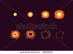 Sprite sheet for cartoon fire explosion, mobile, flash game effect animation. 8 frames on dark background. - stock vector