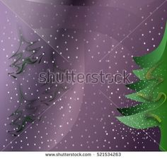 Greeting #card with #Christmas #trees on #purple background with stars