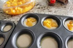 Mini Peach Cobbler Recipe: Preheat oven to You will need: 1 cup sugar 1 cup flour 2 tsp baking powder a dash of salt cup milk 1 stick of melted butter brown sugar cinnamon 1 can diced peaches Put 1 tsp of melted butter into each regular size muffin tin. Mini Peach Cobbler, Peach Cobblers, Peach Cobbler Cupcakes, Mini Peach Pies, Fruit Cobbler, Healthy Peach Cobbler, Peach Muffins, Canned Peach Cobbler Recipe, Desert Recipes