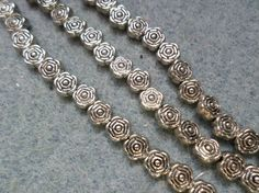 100 x Tibetan Style Spacer Beads - 6mm x 3mm - Flower - Silver Plated