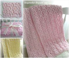 Soft Crochet Lacy Stitch Baby Blanket , FREE pattern. #diy #crafts #crochet baby blanket