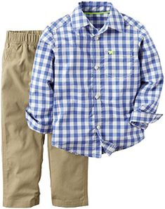 cfd9b1aca Dress your little guy up in this happening Gingham Shirt and Pant Set from  carter's. The poplin button-front shirt features long sleeves and an  embroidered ...