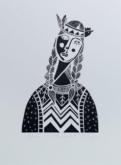 Pocahontas, Linocut print, Limited Edition, available in 4 colours in Etsy. All images copyright of Judith Logan Art.