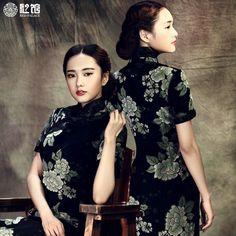 93c96b2b64 Retro Peony Charming Woolen Black Mandarin Costumes