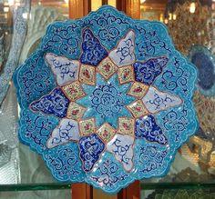 Decorative Persian Mina Enamel Copper Plate