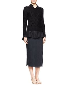 Lauren Open-Knit Sweater, Corinne Pleat-Back Blouse & Ahbria Crinkled Midi Skirt by THE ROW at Bergdorf Goodman.