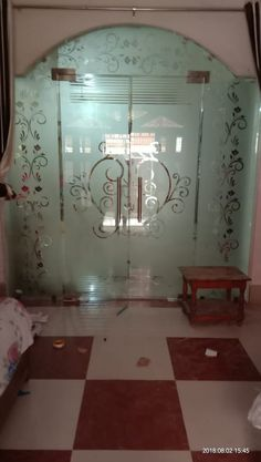 Glass Partition Designs, Window Glass Design, Frosted Glass Design, Living Room Partition Design, Pooja Room Door Design, Etched Glass Windows, Glass Door, House Main Door Design, House Design