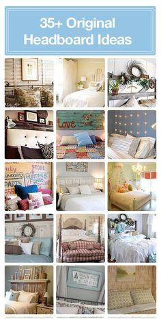 DIY Wood Headboard Ideas   ... ideas on Master Bedroom / A collection of original DIY headboard ideas