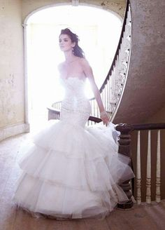 Cheap long wedding dress, Buy Quality wedding dress directly from China vestido de noiva Suppliers: Vestidos De Noiva White Mermaid Long Wedding Dresses With Elegant Lace Ruffle Tiered Skirt For Bridal Wear Jim Hjelm Wedding Dresses, Wedding Dress 2013, Wedding Dresses Photos, Used Wedding Dresses, Perfect Wedding Dress, Wedding Attire, Bridal Dresses, Wedding Gowns, Dream Wedding