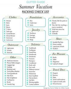 Vacation Packing Checklist Glitter Guide Summer Packing List // Let's go on a vacation!Glitter Guide Summer Packing List // Let's go on a vacation! Vacation Packing Checklist, Summer Vacation Packing, Packing List For Travel, Packing Tips, Travel Tips, Travel Hacks, Summer Vacations, Travel Ideas, Holiday Checklist