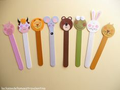Popsicle Stick Bookmark/Figure (Animals) --------------------------------------------- Requires: Colored Popsicle Sticks, Paint or Markers, Pens, Colored Foam Paper/Shapes or Colored Paper Shapes, Scissors, Glue