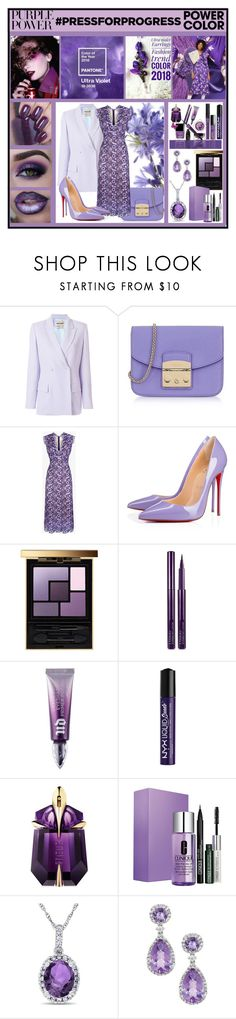 """""""International Women's Day :  Purple Power"""" by fantasiegirl ❤ liked on Polyvore featuring INC International Concepts, Mix & Match, Roberto Cavalli, Furla, Christian Louboutin, Yves Saint Laurent, By Terry, Urban Decay, NYX and Thierry Mugler"""
