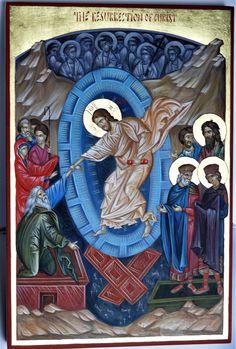Icon of the Resurrection of Christ by Georgi Chimev Catholic Religion, Catholic Art, Religious Icons, Religious Art, Orthodox Icons, Illuminated Manuscript, Byzantine, Jesus Christ, Christianity