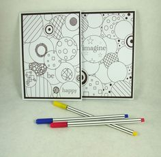 Colouring Notecards, Encouragement Cards, Pack of 2 Notelets, Greeting Cards £2.25