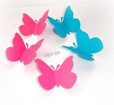 50 große Hot Pink & Türkis Butterfly Cut Outs, Verzierungen-Set à 50 Stk