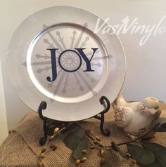 Charger Plate Decorative Joy Snowflake Silver and by VastVinyl