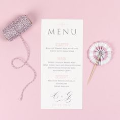 Wedding Menu - Erin - Delicate Frame - EivisSa Kind Designs, Wedding Stationery West Midlands www.eivissakinddesigns.co.uk