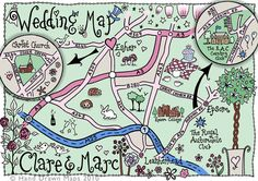 cute wedding map