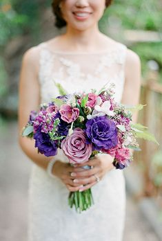 Brides.com: . Nancy tied the knot in an enchanted destination wedding in Maui, Hawaii, so her big day was obviously filled with tons of color. She carried this purple bouquet, created by Bella Grace Flowers, which was filled with lavender, blush lisianthus, garden and spray roses, and ferns.