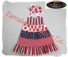FOURTH of JULY Girl Halter Dress  Red White by ZamakerrClothingCo, $37.99