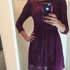 Topshop purple lace dress Needs a new loving home!! Stretchy material Topshop Dresses
