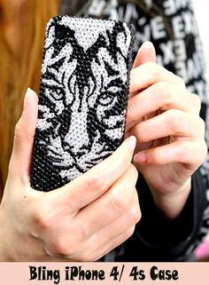 Black Tiger Bling Case cover Design - Cool Bling iPhone 4 4s cases black for girls! http://luxaddiction.com/collections/flat-designs/products/black-tiger-design-style-373