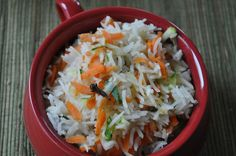 Simple grated carrots and zucchini pulao