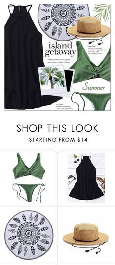 """""""Island getaway"""" by mada-malureanu ❤ liked on Polyvore featuring SONOMA Goods for Life, swimsuit, islandgetaway and zaful"""
