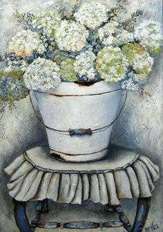 Stella Bruwer white enamel bucket with white hydrangeas on ruffled stool