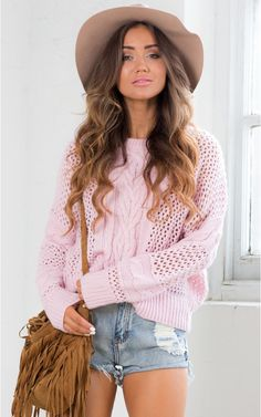 Cross Stitch Knit Sweater in Light Pink | SHOWPO Fashion Online Shopping $60 Layer and add texture to your outfits with this intricately designed knitted sweater. This sweater comes in a gorgeous, on-trend light pink colour and paired with skinny jeans and a brimmed hat sets you up to look cool and effortlessly.