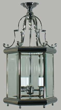 Chrome Westminster 3 Light Small Close to Ceiling Lantern with Clear Beveled Glass Panels
