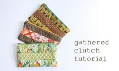 noodlehead: gathered clutch tutorial. Easy and pretty - the pleating really adds a lot of interest to the front. I added a tab to the side so I can attach a wrist strap with a snap hook. A fast and fun little project - it took about 2 hours start to finish.