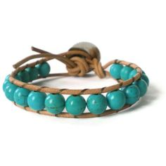 turquoise beaded wrap bracelet bohemian  gemstone by jcudesigns,