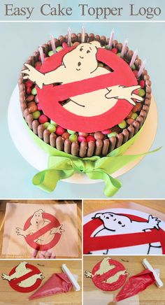 Ghostbusters Birthday Cake by Craft me Happy! How to convert an image into a chocolate cake topper.