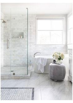 Master Bath Tile, Marble Tile Bathroom, Bath Tiles, Master Bath Remodel, Bathroom Floor Tiles, Bath Tub, Remodel Bathroom, Bathroom Remodeling, Remodeling Ideas